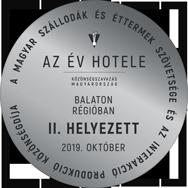 A Év Hotele Közönségszavazás | Balaton Régióban II. Helyezett | 2019. Október